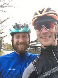 Jag och Vätternrundans arrangemangschef Sven Montelius efter målgång på funktionärs MTB Vättern