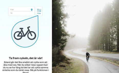 Västtrafik erbjuder cykelfunktion i sin app.